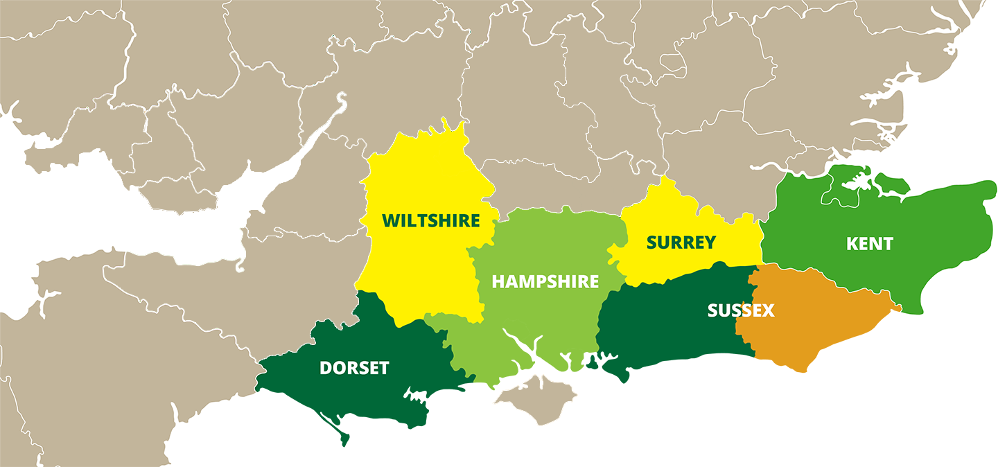 CCC Agronomy Counties Map Dorset, Hampshire, West Sussex, East Sussex and Kent